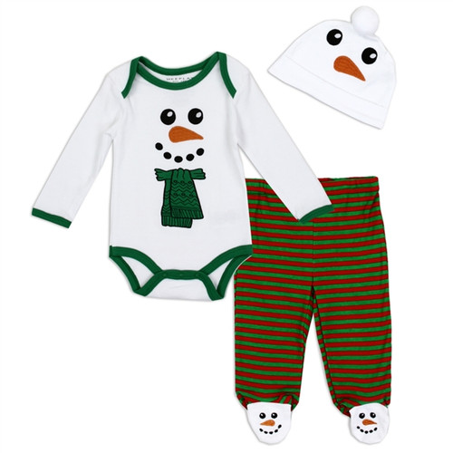Unisex Newborn 3PC Holiday Set - Snowman