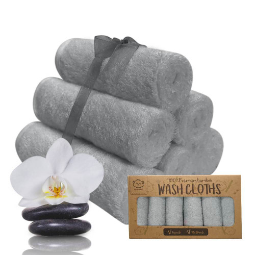 Deluxe Organic Bamboo Washcloths - Cool Gray