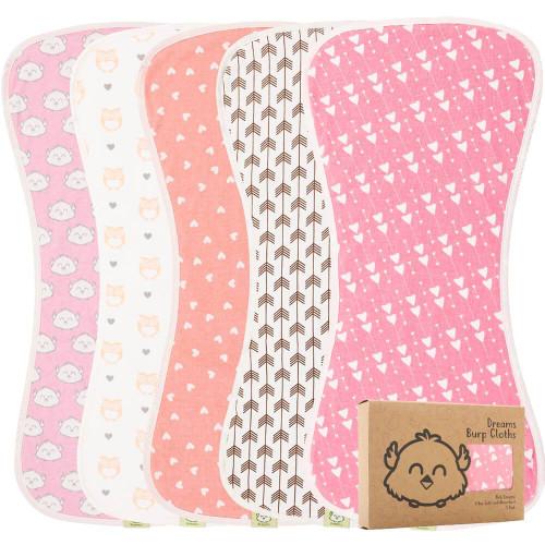 Organic Baby Burp Cloths - Pink Dreams (5Pk)