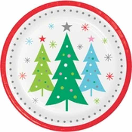 """Holiday Whimsy Christmas Tree Dinner Plates - 9"""""""