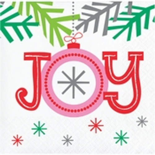 "Holiday Whimsy ""Joy"" Beverage Napkins"