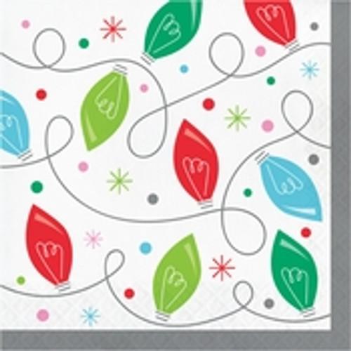 Holiday Whimsy Christmas Lights Luncheon Napkins