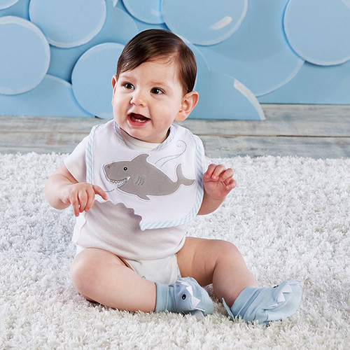 """Chomp & Stomp"" Shark Bib & Booties Gift Set (Blue)"