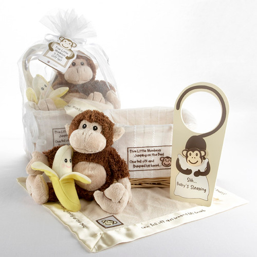 """Five Little Monkeys"" 5-Piece Gift Set in Keepsake Basket"
