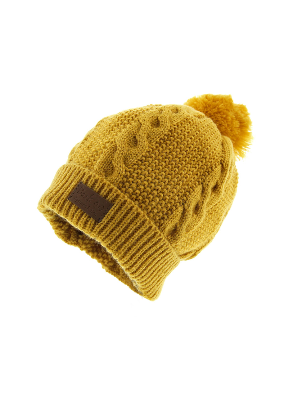 1830ddb8472 Cable Pom Pom Cuffed Beanie Unisex - Yellow Thick and Warm Knit Winter Hat  Skull Cap by Back 40