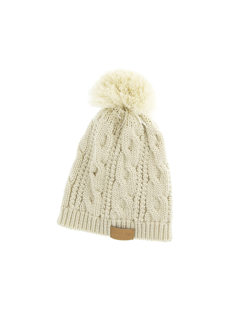 f9aabcf9cf3 Cable Pom Pom Beanie Unisex Cream Thick and Warm Knit Winter Hat Cap by  Back 40