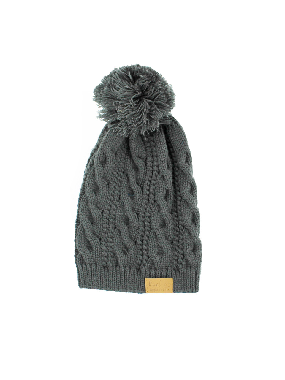 824c76d7759 Cable Pom Pom Beanie Unisex Charcoal Thick   Warm Knit Winter Hat Cap by  Back 40