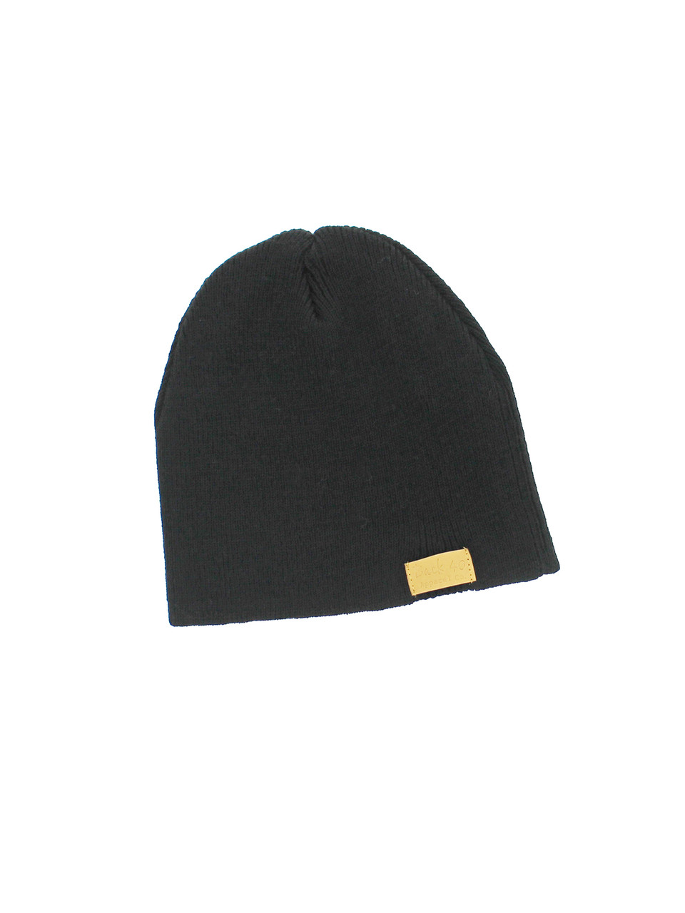 4b4ef2a22e373 Four Seam Cuffless Beanie Unisex Black Thick and Warm Knit Winter Hat by  Back 40