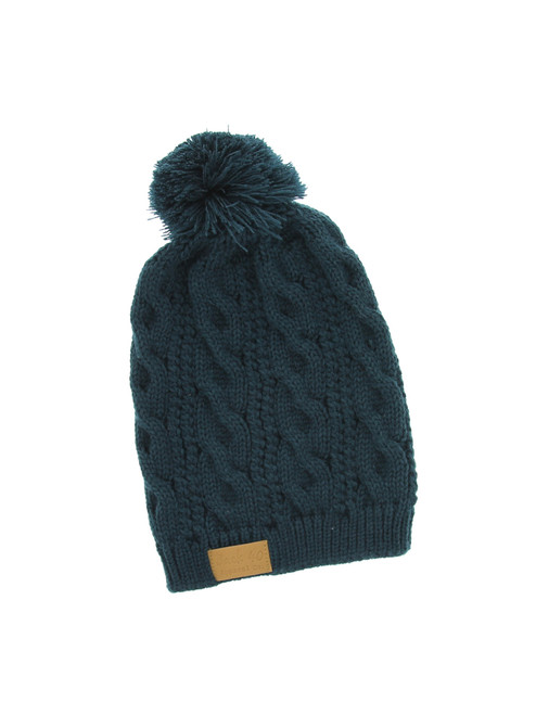 4803166b052b65 Cable Pom Pom Beanie Unisex - Jade Thick and Warm Knit Winter Hat Skull Cap  by Back 40