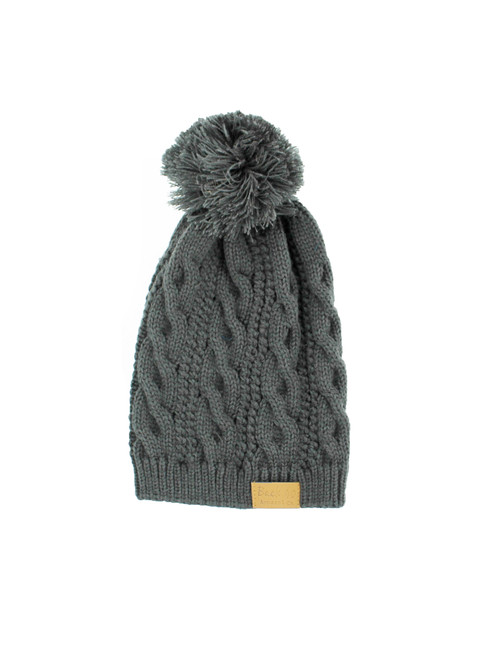 043783a0e3e317 Cable Pom Pom Beanie Unisex - Charcoal Thick and Warm Knit Winter Hat Skull  Cap by Back 40