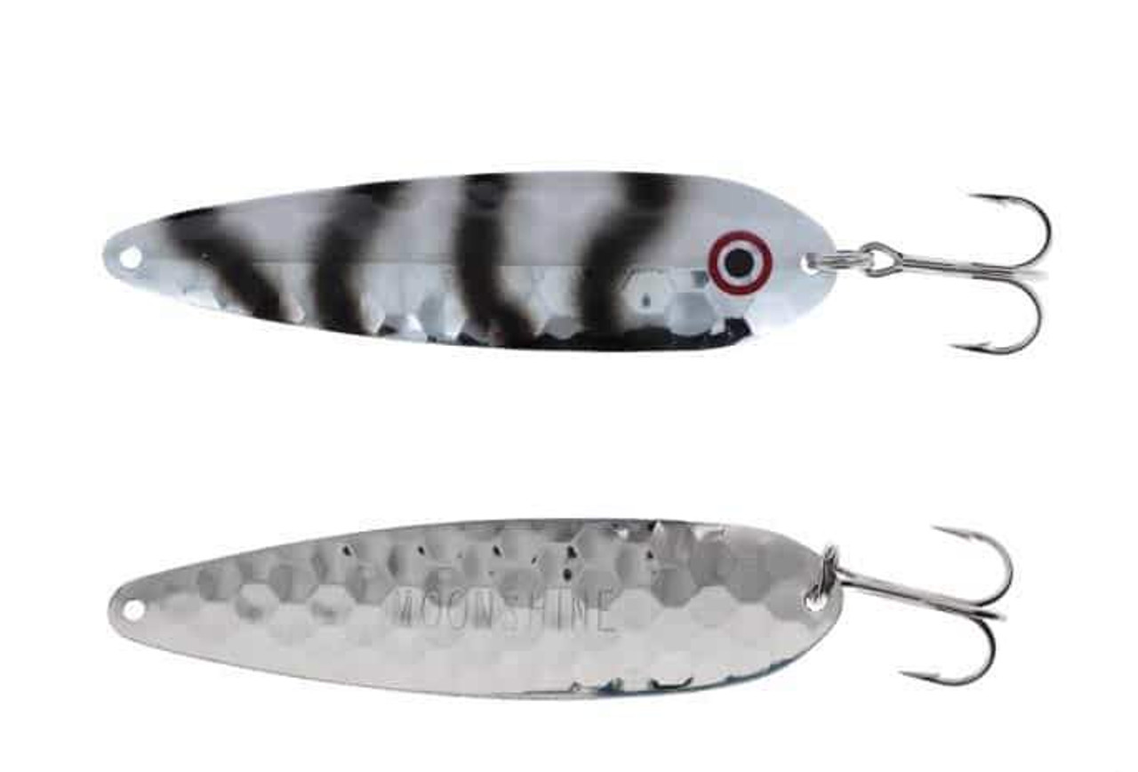 """MOONSHINE LURES GLOW IN THE DARK MAGNUM 5/"""" TROLLING SPOON SLIVER"""