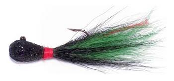 Hutch's Tackle Pro Bucktail Jigs Black/Kelly Green 3/8