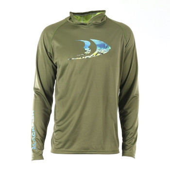 Blackfish CoolTech UPF Guide Sun Hoodie Splash Moss Green Large