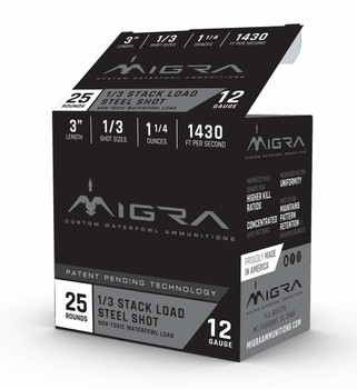 "Migra 12ga 3"" 1.25oz #2/4 Steel Stack Load 25rd"