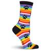 "Cat Socks ""Rainbow Stripe Paw Prints"" KBWF15H063-01"
