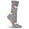 "Cat Socks ""Naughty Cat"" Charcoal KBWF15H010-01"