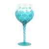 Mermaid Mermazing Aqua Wine Hand Painted Glass 18oz