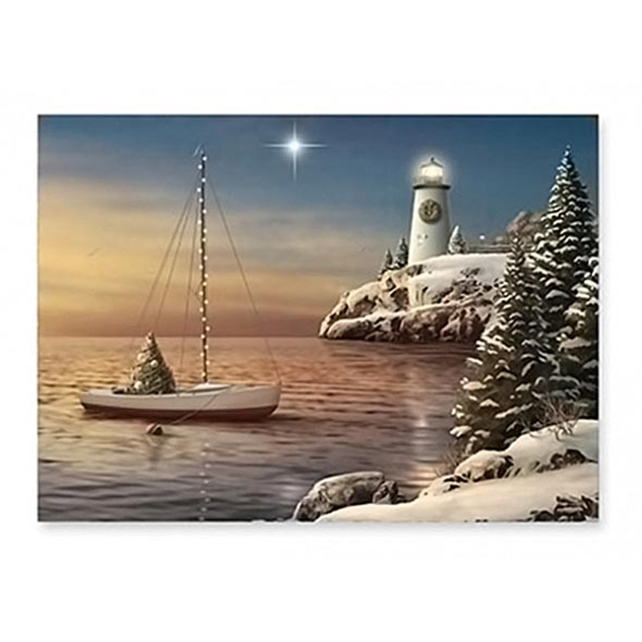 Beach Christmas Cards >> Lighthouse Sailboat Beach Christmas Cards 16 Per Box 27 104