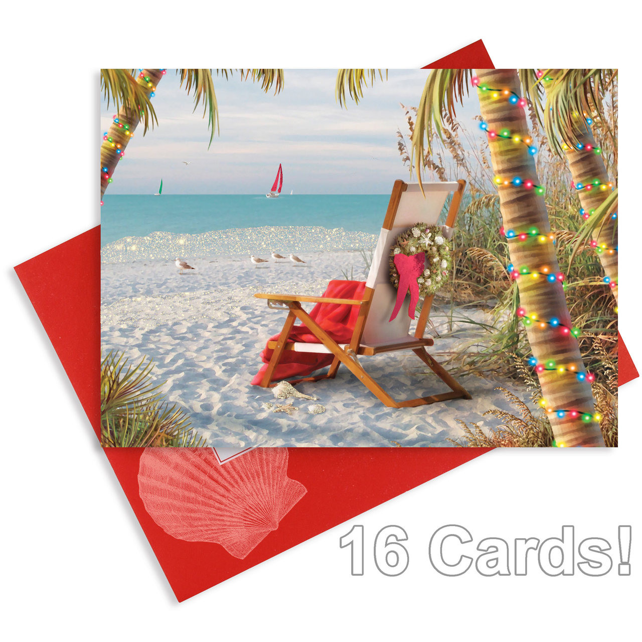 Christmas Cards Winter Beach - Glitter and Foil - Box of 16 - 27-114 ...