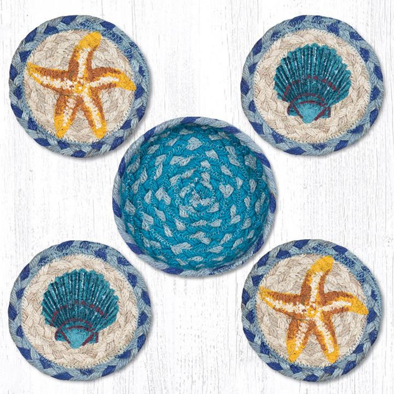 Starfish Scallop Teal Natural Set Or 4 Braided Coasters In Jute Basket 5 Cnb 378 Tropicalbreezedecor