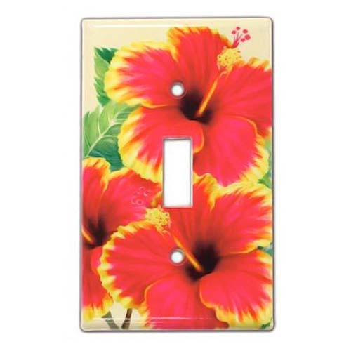Red and Yellow Hibiscus Light Switch Cover 19253000