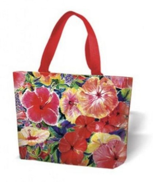 Hibiscus Flower Canvas Tote Bag - Red - 31338000