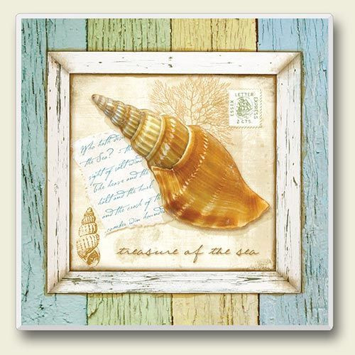 "Sea Shell Single Absorbent Coaster ""Triton Shell"" - 02-097"