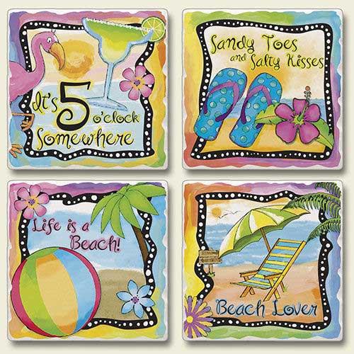 4 Tropical Beach Scenes Stone Coasters 4 Pack 05-819