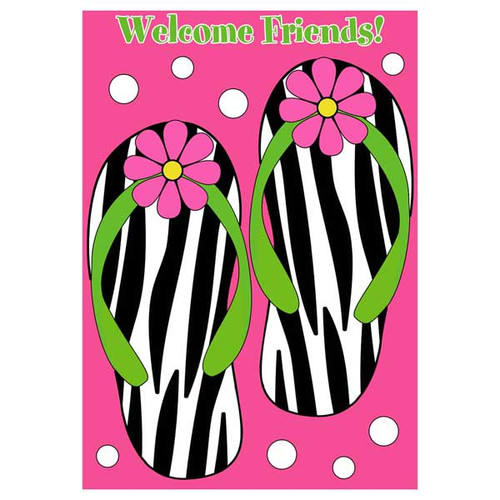 Flip Flops Zebra Stripes Applique Garden Flag - 0921FM