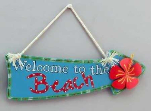 Wood Sign Welcome to Beach Wall Plaque 11119B