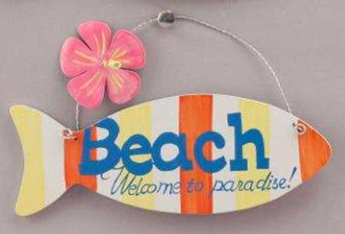 Wood Sign Beach Welcome to Paradise Fish Wall Plaque 11220P