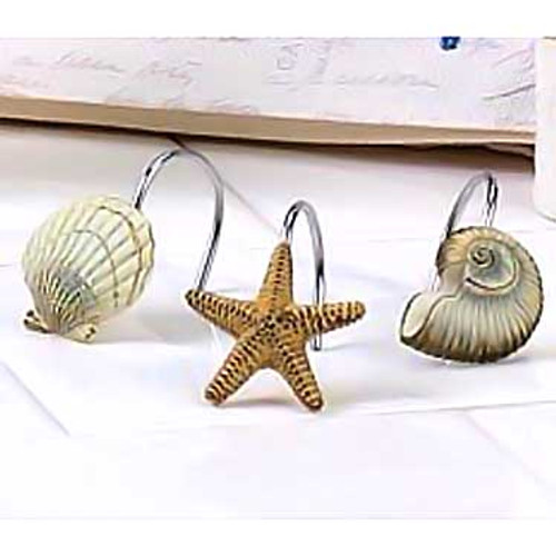 Sea Shells Antigua Ivory Shower Curtain Hooks 13571G