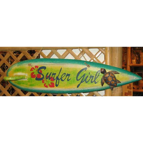 Surfer Girl Surfboard Hand Painted Wood Sign 1536-2-800