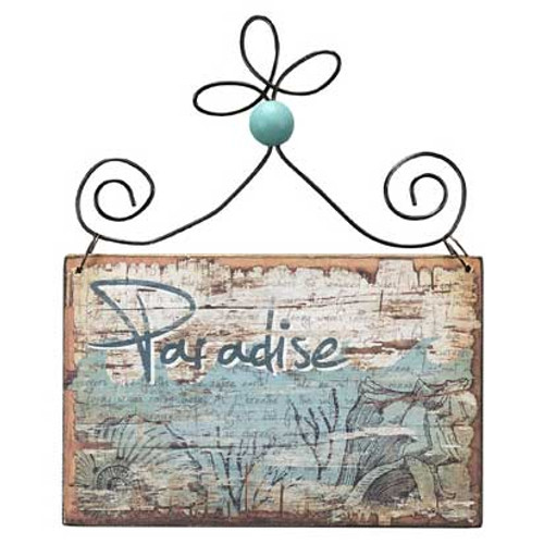 Wooden Bleached Ornament - Paradise 21076PA
