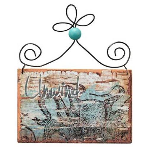 Wooden Bleached Ornament - Unwind 21076UN