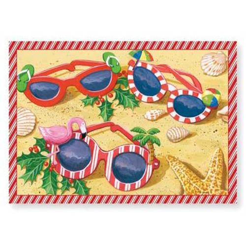 """Christmas Cards """"Festive Sunglasses"""" 16 Per Box 25-454"""
