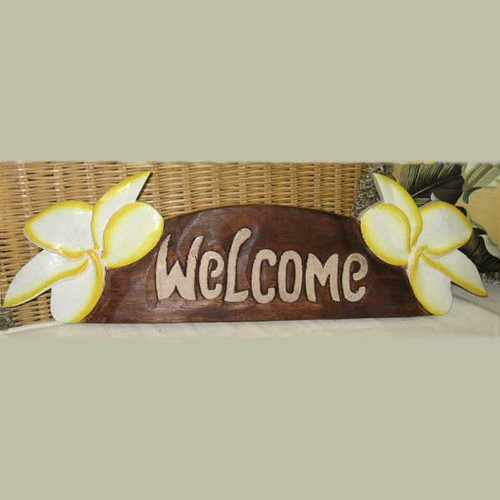 Welcome Sign Hand Painted Wood Yellow Plumeria 274-2-650