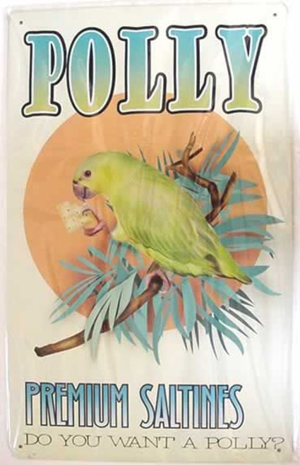 "Parrot Tin Sign ""Polly Premium Saltines"" -29855B"