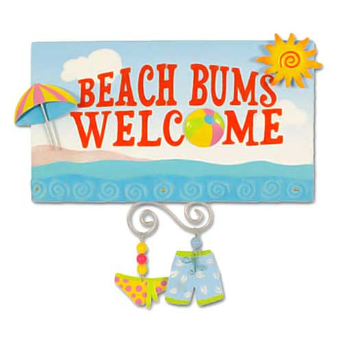 "Beach Wood & Metal Sign ""Beach Bums Welcome"" - 30-001"
