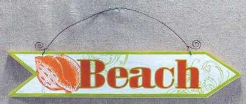 Wood Plaque Beach Arrow Wall Sign 30137BO