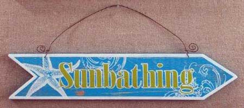 Wood Plaque Sunbathing Arrow Wall Sign 30137SB