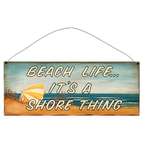 "17"" Beach Theme Wood Sign ""Beach Life"" 31375B"
