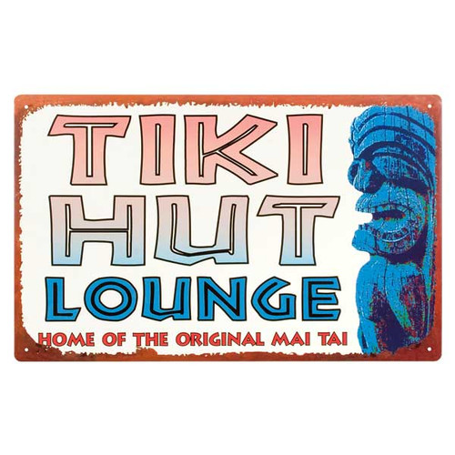 "Vintage Style Tin Sign ""Tiki Hut Lounge"" - 32314C"
