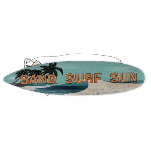 "Surf Theme Tin Sign ""Sand Surf Sun"" - 32574C"