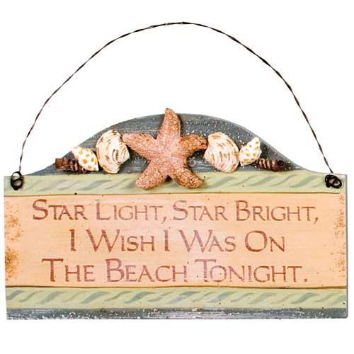 """Beach Small Wood Sign """"Starlight Star Bright.."""" - 33051F"""