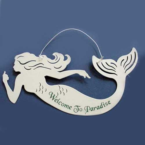 """Mermaid Tin Sign """"Welcome to Paradise"""" - 33251F"""