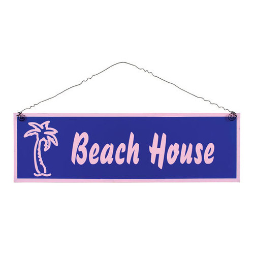 "Tin Large Sign ""Beach House"" - 33368B"