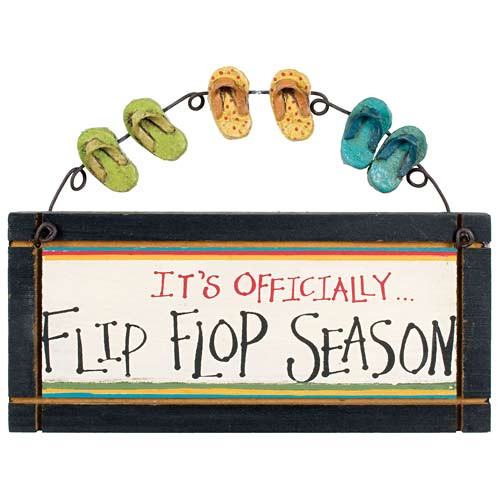 "Flip Flops Small Wood Sign ""It's Officially Flip Flop Season"" - 33523B"