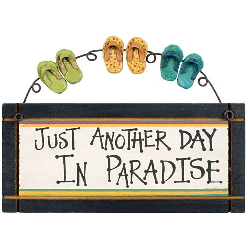 """Flip Flops Small Wood Sign """"Just Another Day in Paradise"""" - 33523C"""