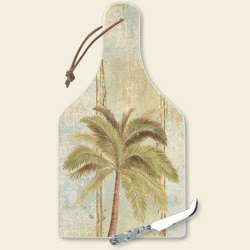 "Palm Tree Cutting Serving Board with Knife ""Palm Beach"" - 34-210"